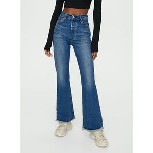 Free People x Levi's Distressed High Flare Jeans